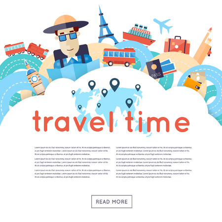 Ilustración de World Travel. Planning summer vacations. A man travels the world by train plane ship or bus. Roads. Summer holiday. Tourism and vacation theme. Flat design vector illustration. - Imagen libre de derechos