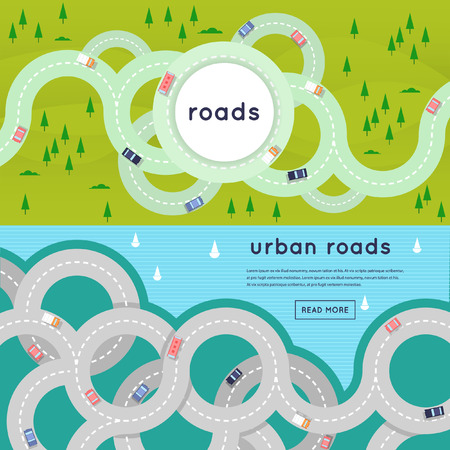 Photo for Busy urban asphalt roads and transport. 2 banners with place for text. Top view. Flat style vector illustration. - Royalty Free Image