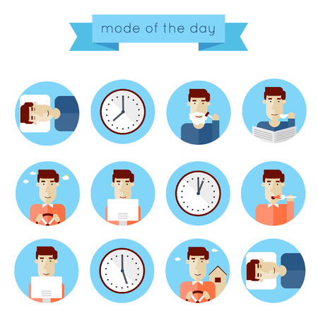 Illustration for Concept of man daily routine. Set of flat illustrations on a white background. Infographic elements of daily activities in blue circles. - Royalty Free Image