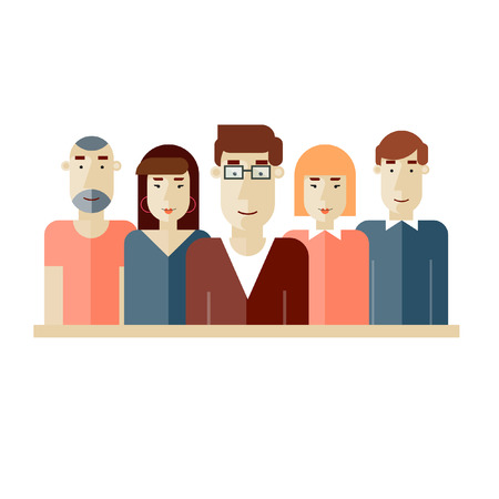 Illustrazione per Creative team. Group of people. Teamwork. Brainstorming. Poster with place for text. Vector illustration. Flat design. - Immagini Royalty Free