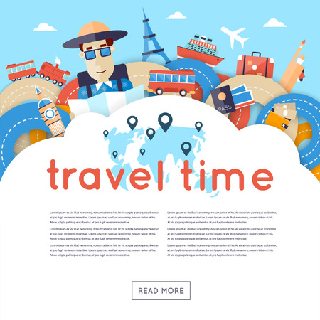 Illustration pour World Travel. Planning summer vacations. A man travels the world by train, plane, ship or bus. Roads. Summer holiday. Tourism and vacation theme. Flat design vector illustration. Material design. - image libre de droit
