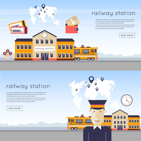 Railway station concept. Driver of the train station on the background of the train and maps. Train, watch, backpack, map, train station, rails. Flat icons vector illustration.
