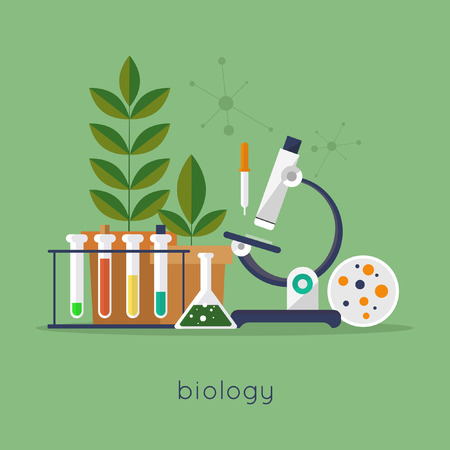 Ilustración de Biology laboratory workspace and science equipment concept. Flat design vector illustration. - Imagen libre de derechos