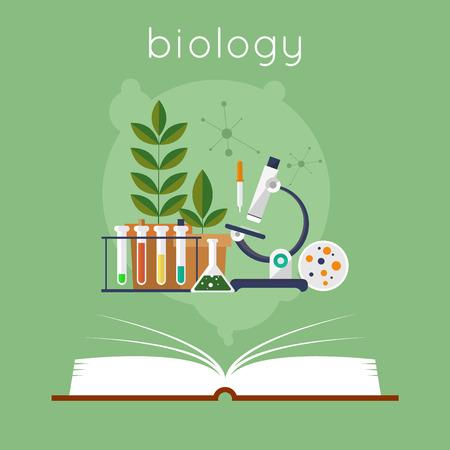 Ilustración de Open book with tools for biology. Education. Back to school. Flat design vector illustration. - Imagen libre de derechos
