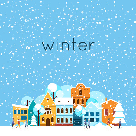 Illustration for Merry christmas and a happy new year. Winter landscape, winter in the city, it is snowing. Flat design vector illustration. - Royalty Free Image