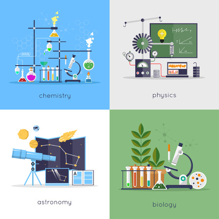 Illustration pour Physics, chemistry, biology, astronomy laboratory workspace and science equipment concept. Flat design vector illustration. - image libre de droit