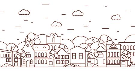 Ilustración de Thin line city landscape with trees black and white. Flat design vector illustration. - Imagen libre de derechos