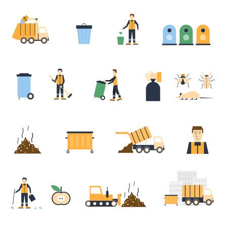Ilustración de Garbage collection, trashcan, waste separation, garbage removal, the janitor set icons. Flat design vector illustration. - Imagen libre de derechos