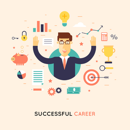 Illustration pour Successful career businessman. Flat design  illustration. - image libre de droit
