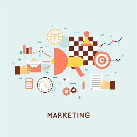 Illustration pour Marketing mobile, email marketing, video marketing and digital marketing, strategy and digital marketing. Flat design illustration. - image libre de droit