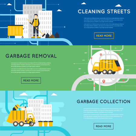 Ilustración de Garbage disposal, sanitary works, employees of garbage collection, cleaning, sorting, processing and recycling of garbage. Flat style illustration - Imagen libre de derechos