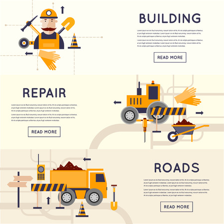 Illustration pour Road construction equipment. Road worker repair of roads. 3 banners. Flat design vector illustrations. - image libre de droit