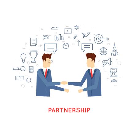 Ilustración de Doodle partnership, co-operation, the two men shake hands, contracts, agreements, business. Flat design. - Imagen libre de derechos