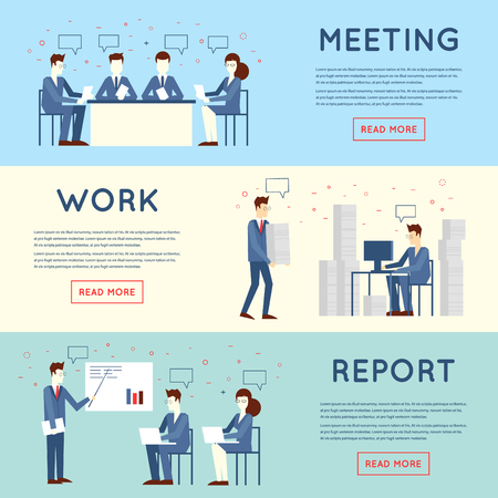 Ilustración de Business people in an office work, negotiations, hard work, stress, report, teamwork. Flat design vector illustration. - Imagen libre de derechos