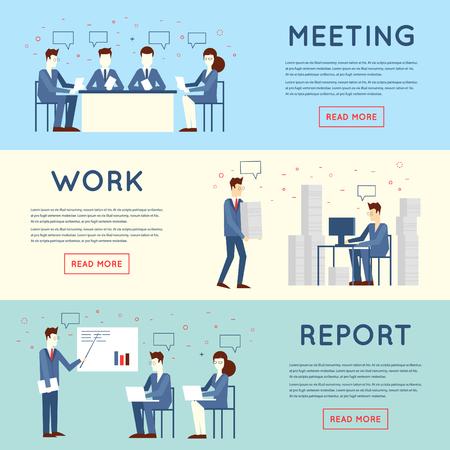 Illustration pour Business people in an office work, negotiations, hard work, stress, report, teamwork. Flat design vector illustration. - image libre de droit