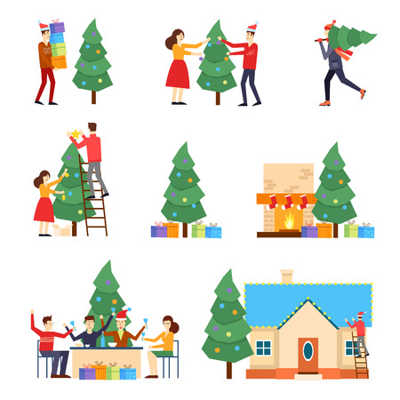 Illustration pour Merry Christmas and Happy New Year. People are preparing for the new year, buying presents, decorating the Christmas tree, celebrate the new year, decorate the house, put the presents under the tree. - image libre de droit