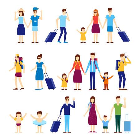 Illustration pour People travel with children, families. Flat design vector illustration. - image libre de droit
