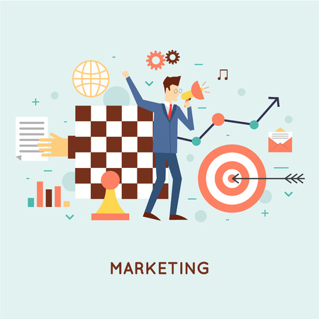 Ilustración de Marketing, email marketing, video marketing and digital marketing, strategy and digital marketing. Flat design vector illustration. - Imagen libre de derechos