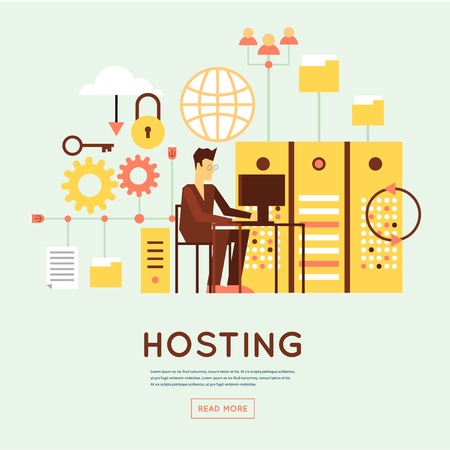 Illustrazione per File hosting, database server, data exchange, digital data center, file storage, file protection. Flat design. - Immagini Royalty Free