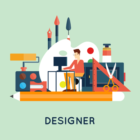 Illustration for Designer character and workspace with tools and devices in modern flat style. Creative process, logo and graphic design, design agency. Flat design vector illustration. - Royalty Free Image