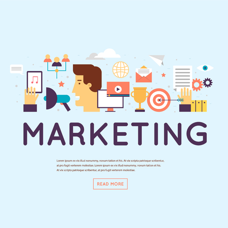 Ilustración de Marketing, email marketing, video marketing and digital marketing. Banner. Flat design vector illustration. - Imagen libre de derechos