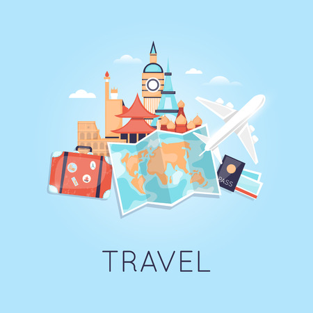 Illustration pour ravel by plane Russia, USA, Japan, France, England, Italy. World Travel. Planning summer vacations. Summer holiday. Tourism and vacation theme. Flat design vector - image libre de droit