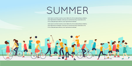 Illustration pour Physical activity people engaged in outdoor sports, running, cycling, skateboarding, roller skating, kayaks, tennis, sailing, surfing, summer. Flat design vector illustration. - image libre de droit