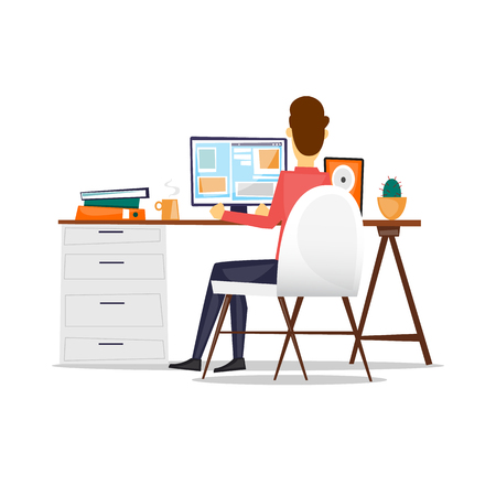 Illustration pour Man sitting at a desk and working on the computer back view, on an isolated background. Flat design vector illustration. - image libre de droit