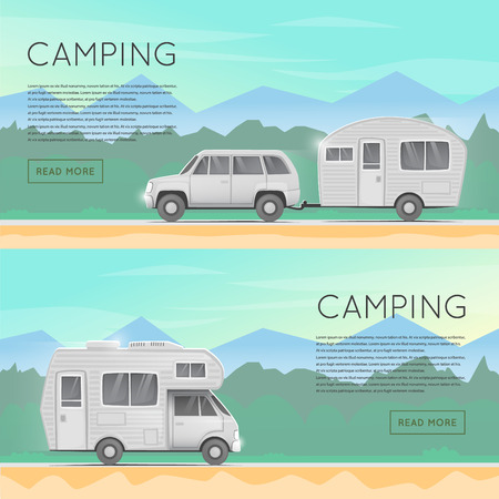Illustration pour Hiking and outdoor forest camping. Camper trailer family. Summer campers trailers. Tourist campers. Summer landscape. Summer adventure. Flat design illustration. - image libre de droit