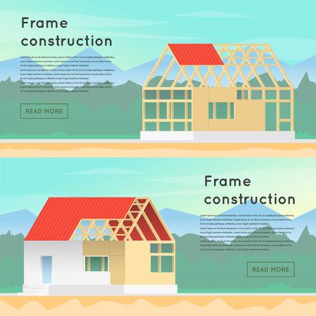 Illustration pour Frame construction. Wooden framework construction. Home Construction. House in construction process. Framing Structure. - image libre de droit