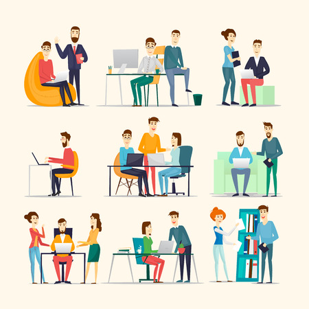 Ilustración de Co working people, meeting, teamwork, collaboration and discussion, conference table, brainstorm. Workplace. Office life. Various characters. - Imagen libre de derechos