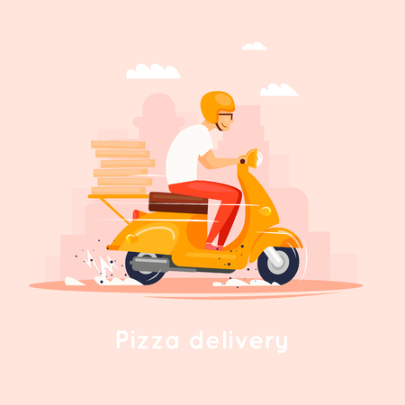 Illustration pour Delivery, the guy on the moped is carrying pizza. Characters. Flat design vector illustration. - image libre de droit
