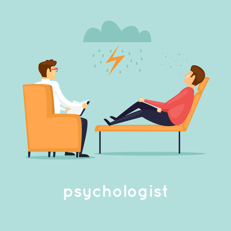 Illustration pour Psychologist at the reception. Flat vector illustration in cartoon style. - image libre de droit