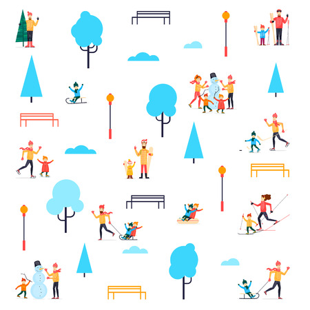 Ilustración de Winter people in the park. Flat design vector illustration. - Imagen libre de derechos