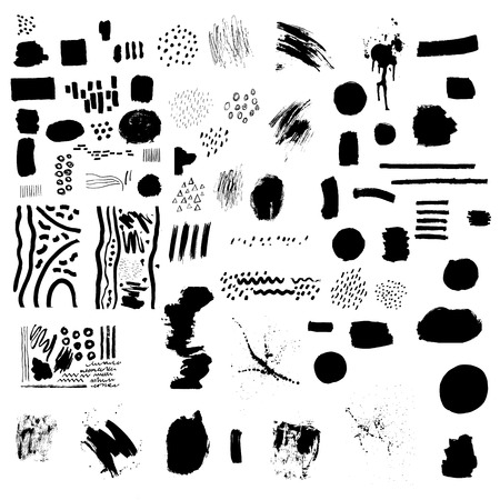 Ilustración de Set of black blemishes, brushes, lines. Dots, pen, brush, paint, texture, smear. Artistic design elements. Hand drawn vector illustrations on white background. - Imagen libre de derechos