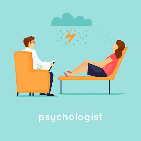 Illustration pour Psychologist at the reception. Flat vector illustration in cartoon style. - image libre de droit