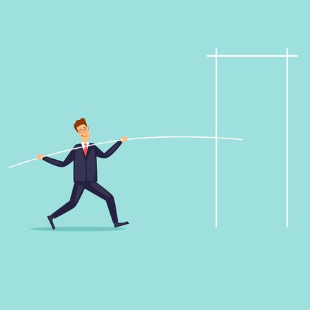 Ilustración de Businessman jumping high. Flat design vector illustration. - Imagen libre de derechos