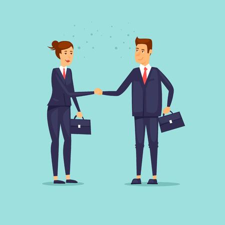 Ilustración de Businessmen shaking hands. Woman and a man. Flat design vector illustration. - Imagen libre de derechos