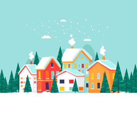 Ilustración de Winter city landscape. New year and merry christmas. Flat design vector illustration. - Imagen libre de derechos