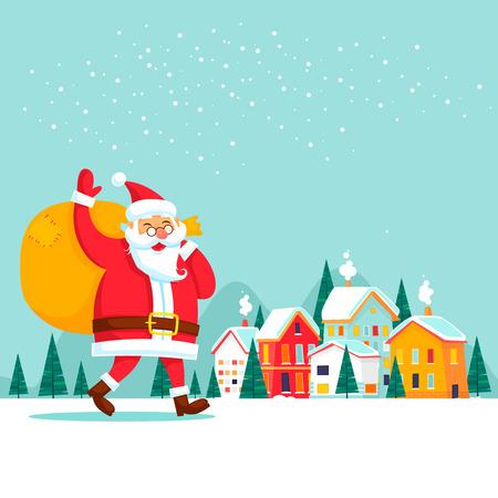 Illustration pour Santa Claus carries gifts, winter city. New Year Merry Christmas. Flat design vector illustration. - image libre de droit