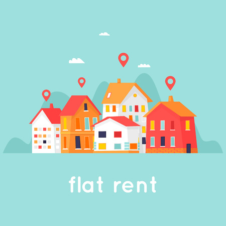 Ilustración de Rental of property. Cityscape. Flat design vector illustration. - Imagen libre de derechos