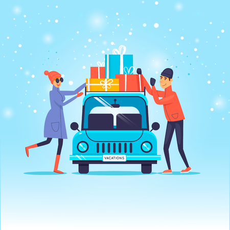 Illustration for Merry Christmas and Happy new year. Couple loads gifts on the car. Flat design vector illustration. - Royalty Free Image