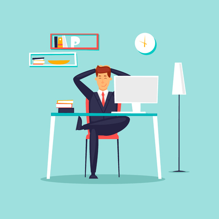 Illustration pour Happy businessman working in the office at the computer, workplace, interior. Flat design vector illustration. - image libre de droit