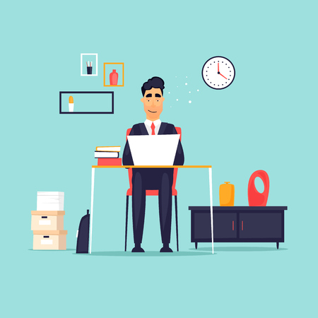 Ilustración de Businessman working in the office at the computer, workplace, interior. Flat design vector illustration. - Imagen libre de derechos