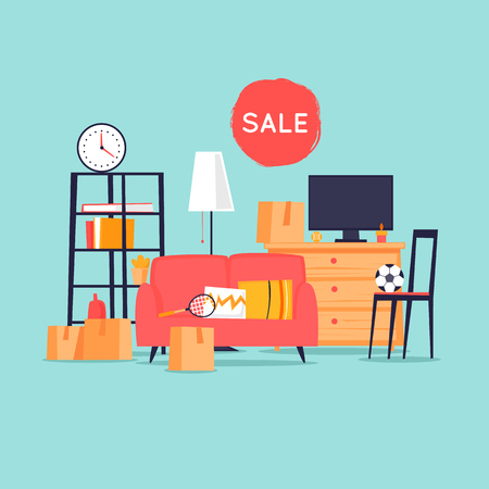 Illustration for Garage sale, unnecessary things. Flat design vector illustration. - Royalty Free Image