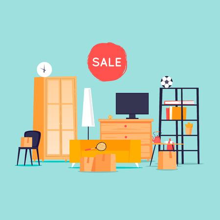 Illustration pour Garage sale, unnecessary things. Flat design vector illustration. - image libre de droit