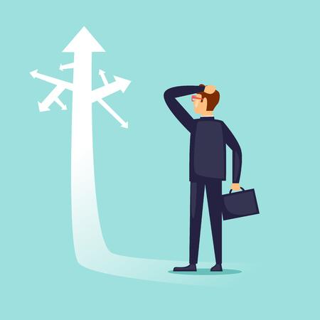 Illustration pour Businessman before choice. Flat design vector illustration. - image libre de droit