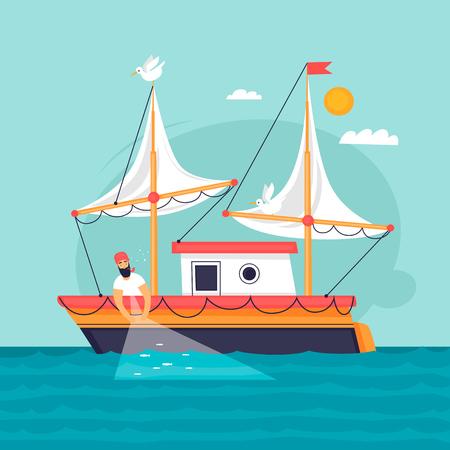 Ilustración de Fisherman pulls fishing net. Commercial fishing vessel. Flat design vector illustration. - Imagen libre de derechos