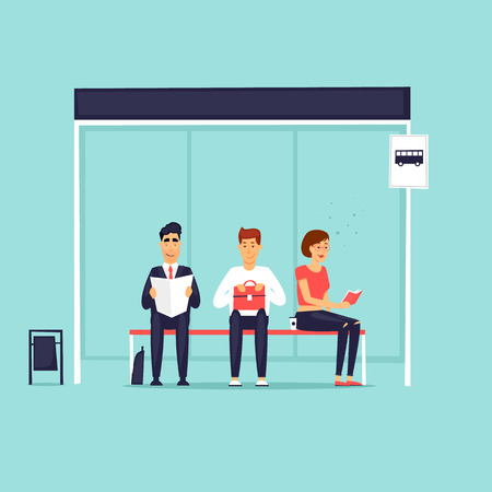 Ilustración de People sitting at the bus stop. Flat design vector illustration. - Imagen libre de derechos