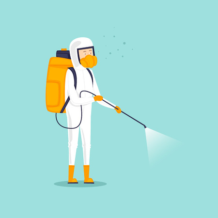 Illustration pour Chemical treatment insects. Man in uniform with face mask spray pesticides. Flat design vector illustration. - image libre de droit